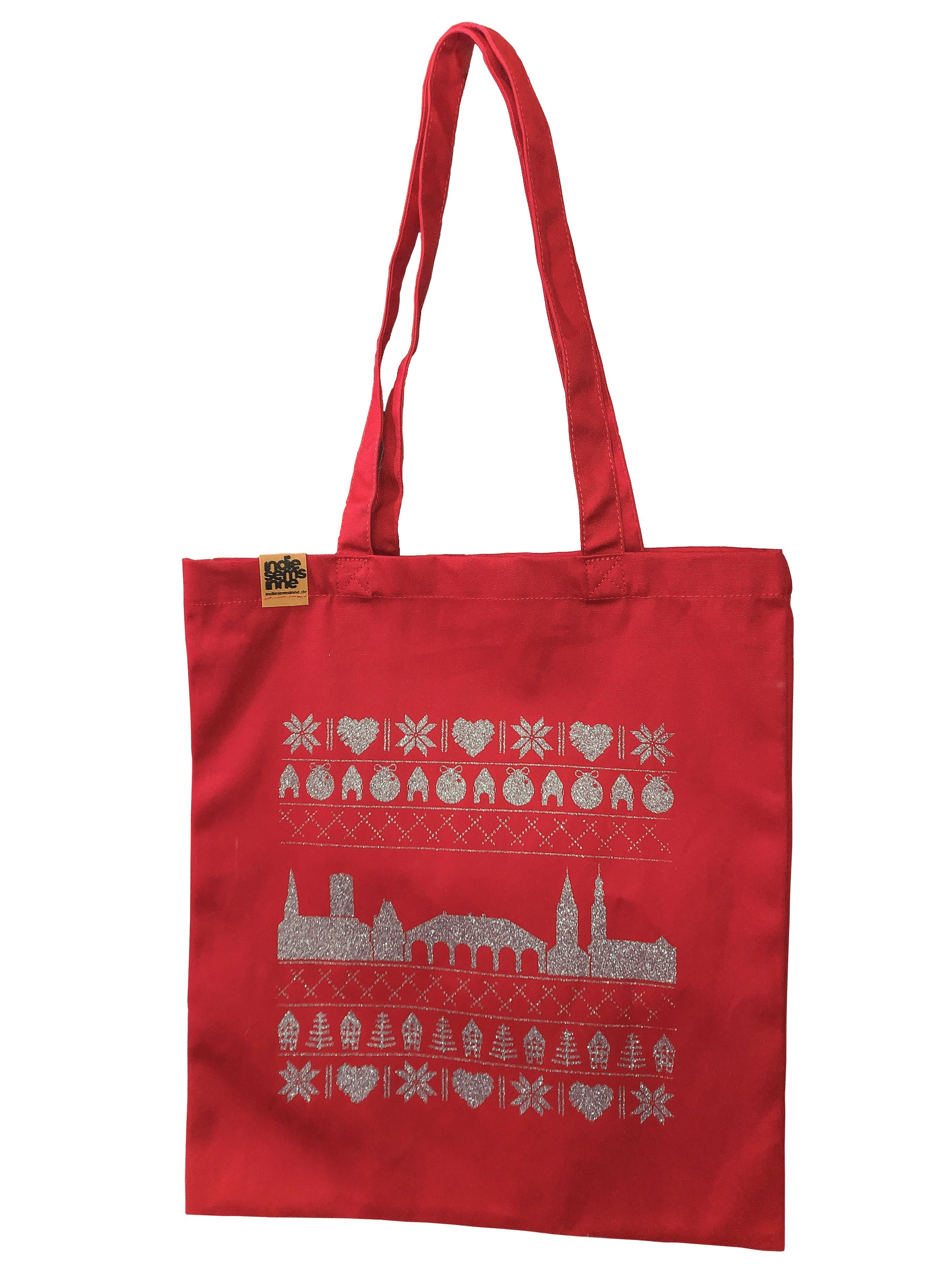 Rote Bio-Baumwolltasche mir silbernem Weihnachtsmotiv